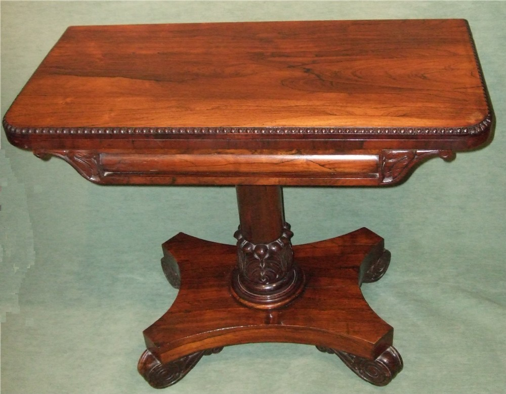 william ivth rosewood pedestal card table