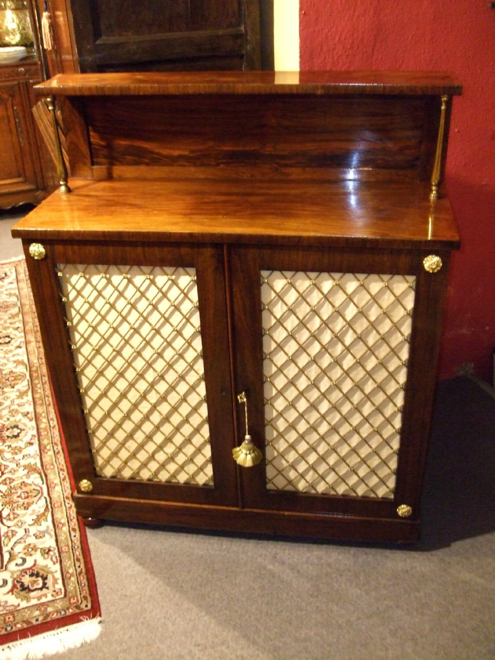 regency rosewood side cabinet with brass grills