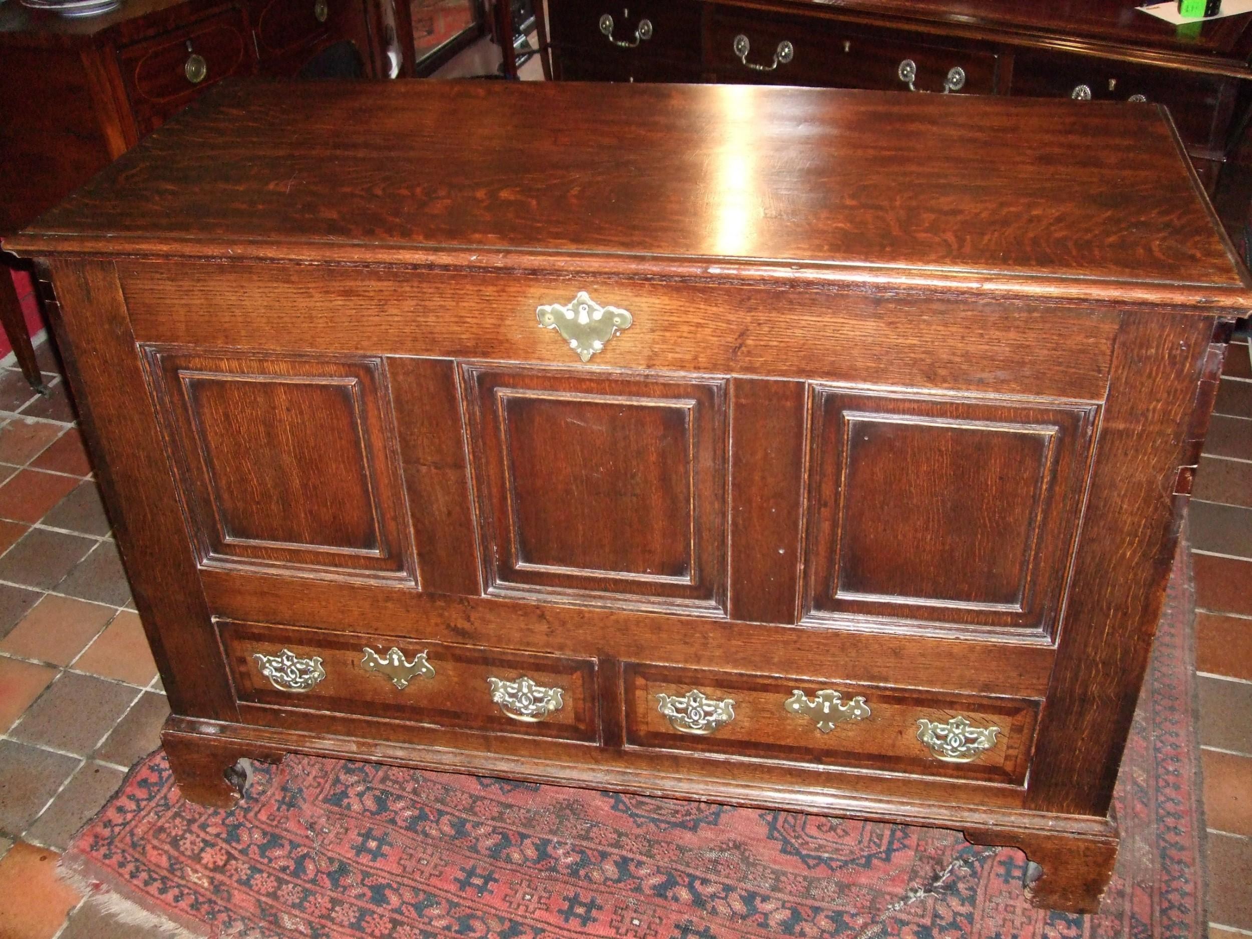 18thc oak mule chest coffer