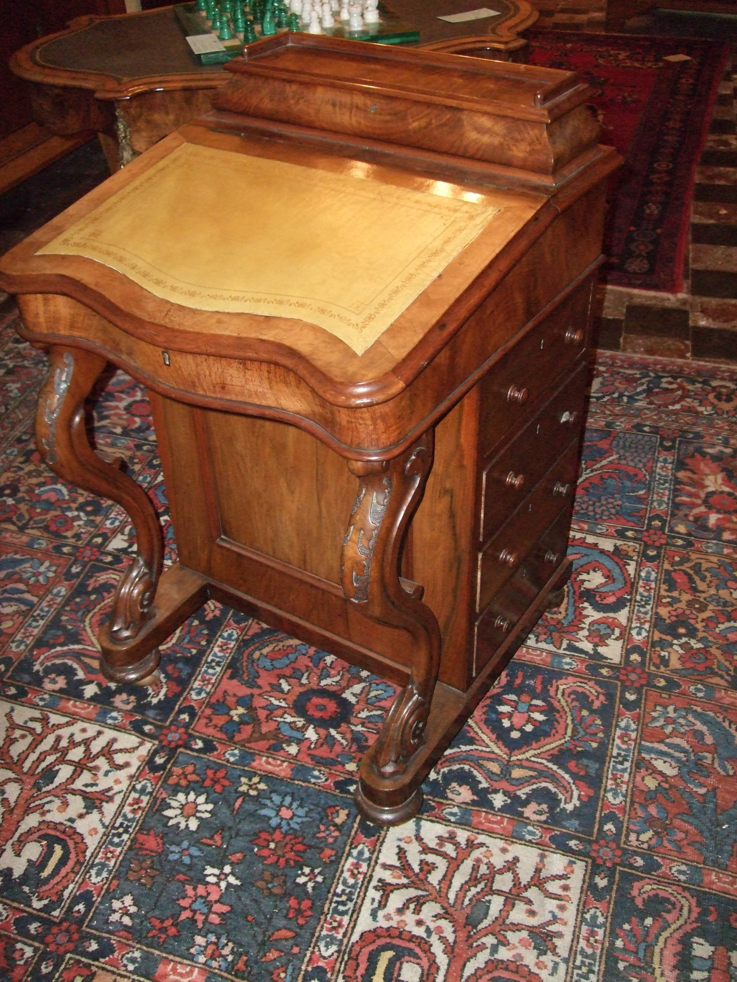 victorian walnut davenport desk with fitted interior penstationary compartment