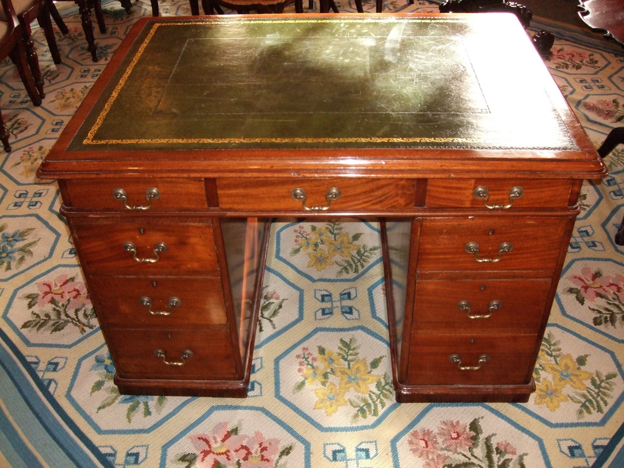 early 19thc mahogany pedestal partners desk of small proportions