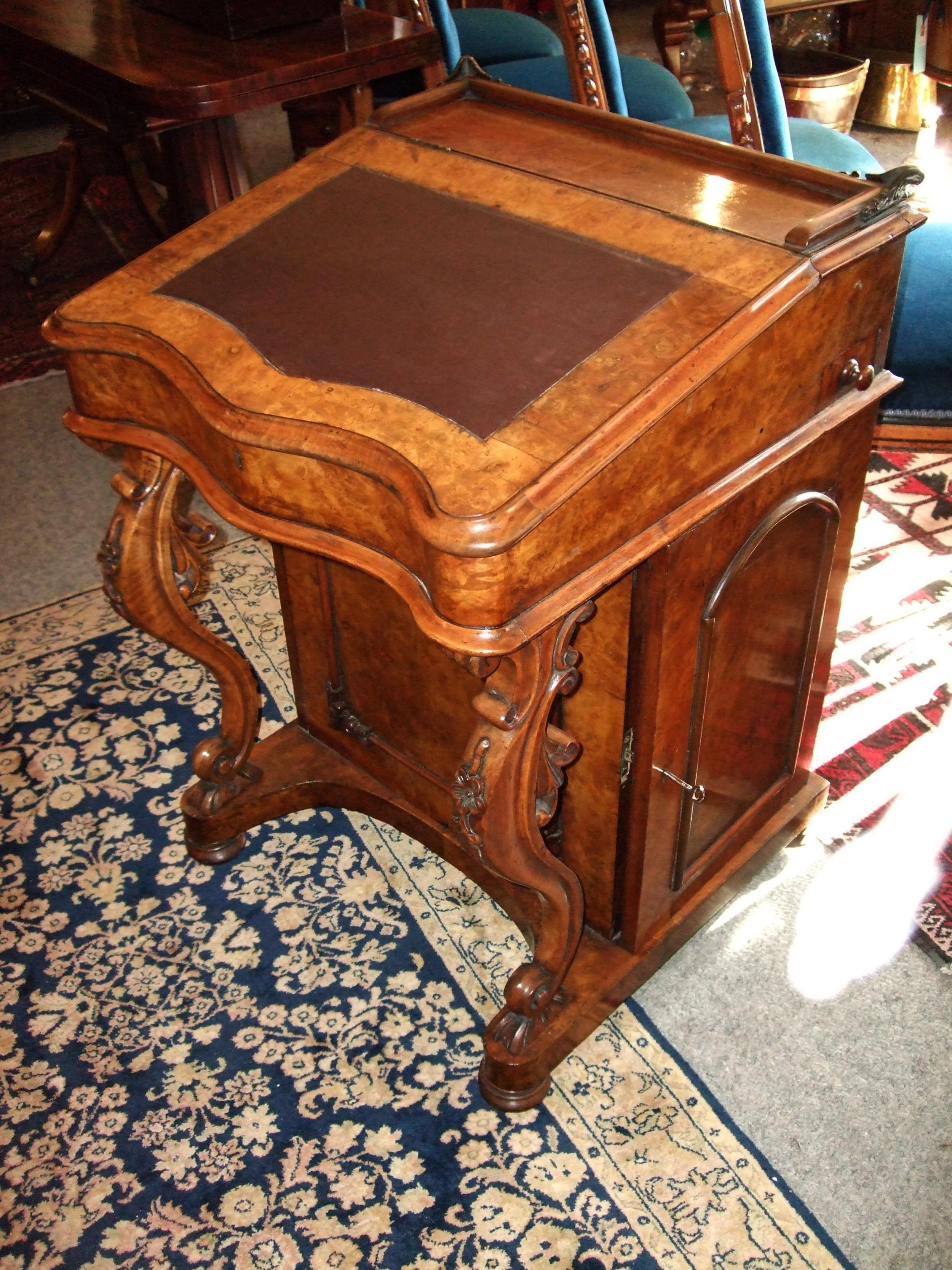 victorian burr walnut davenport writing desk