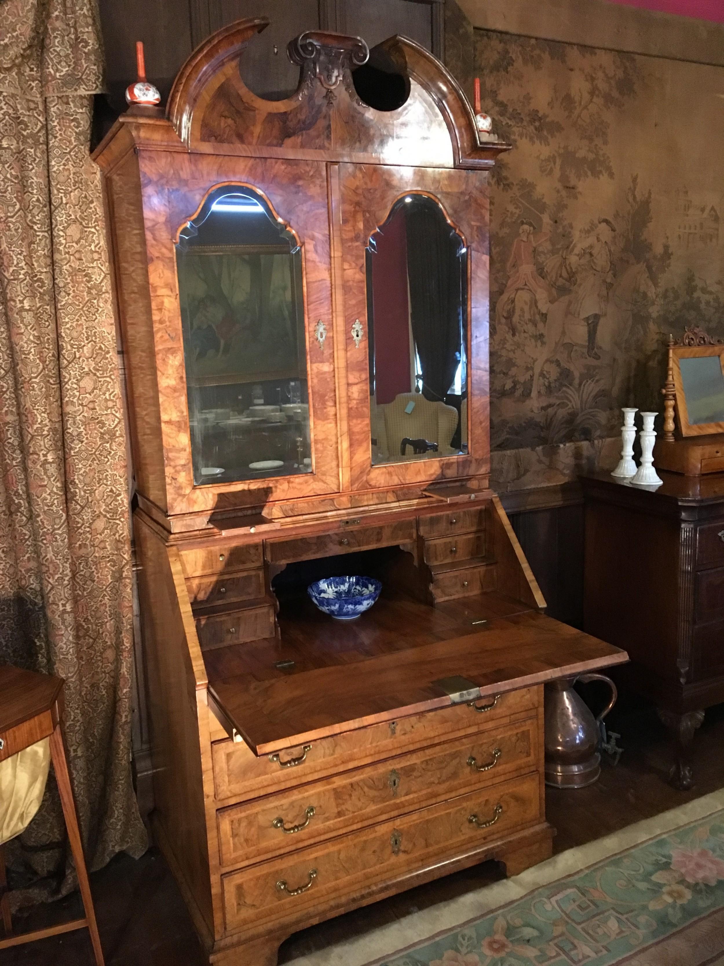 george 1st period walnut bureau bookcase c1720