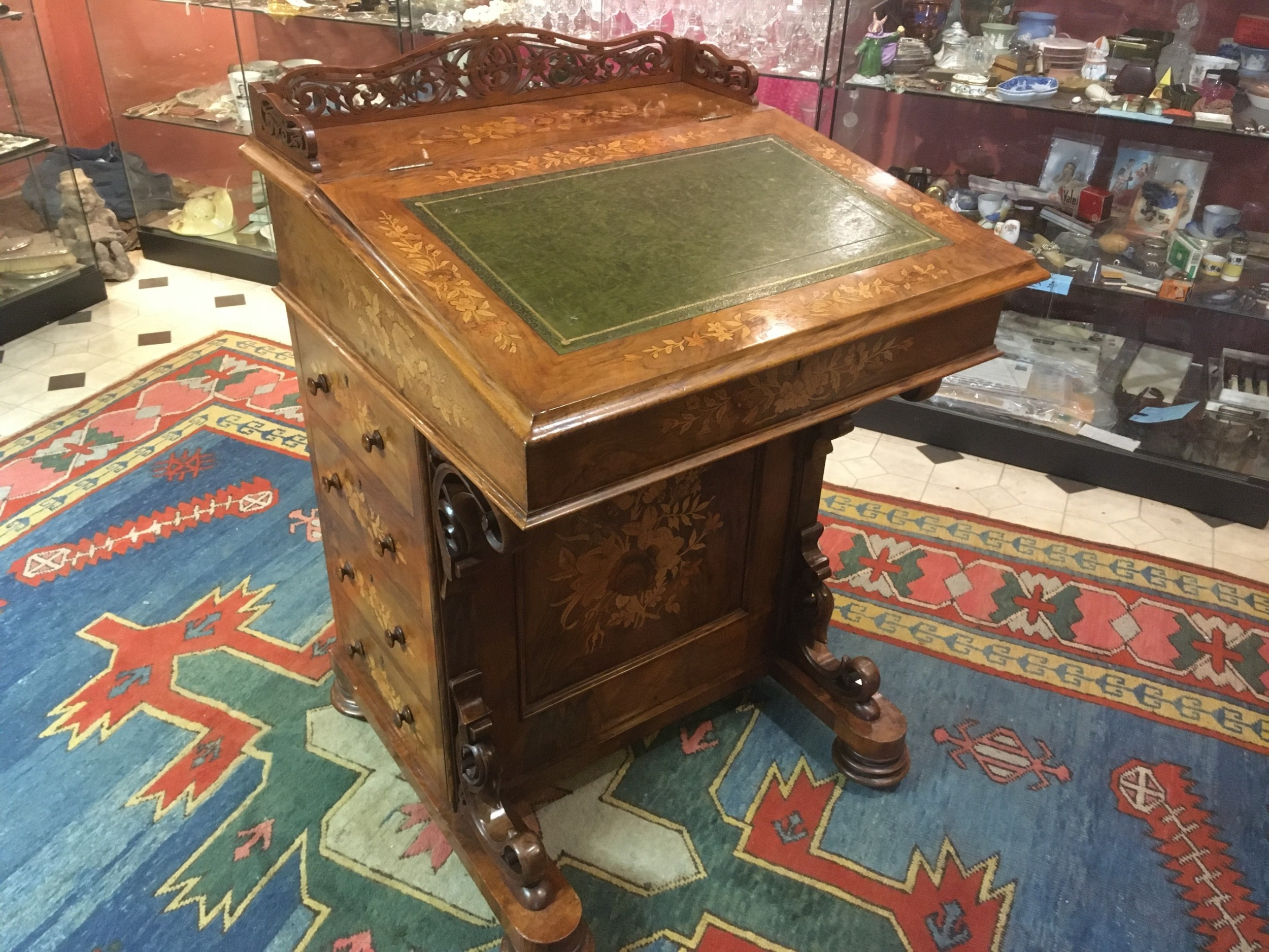 fine quality victorian walnut davenport with superb marquetry inlay