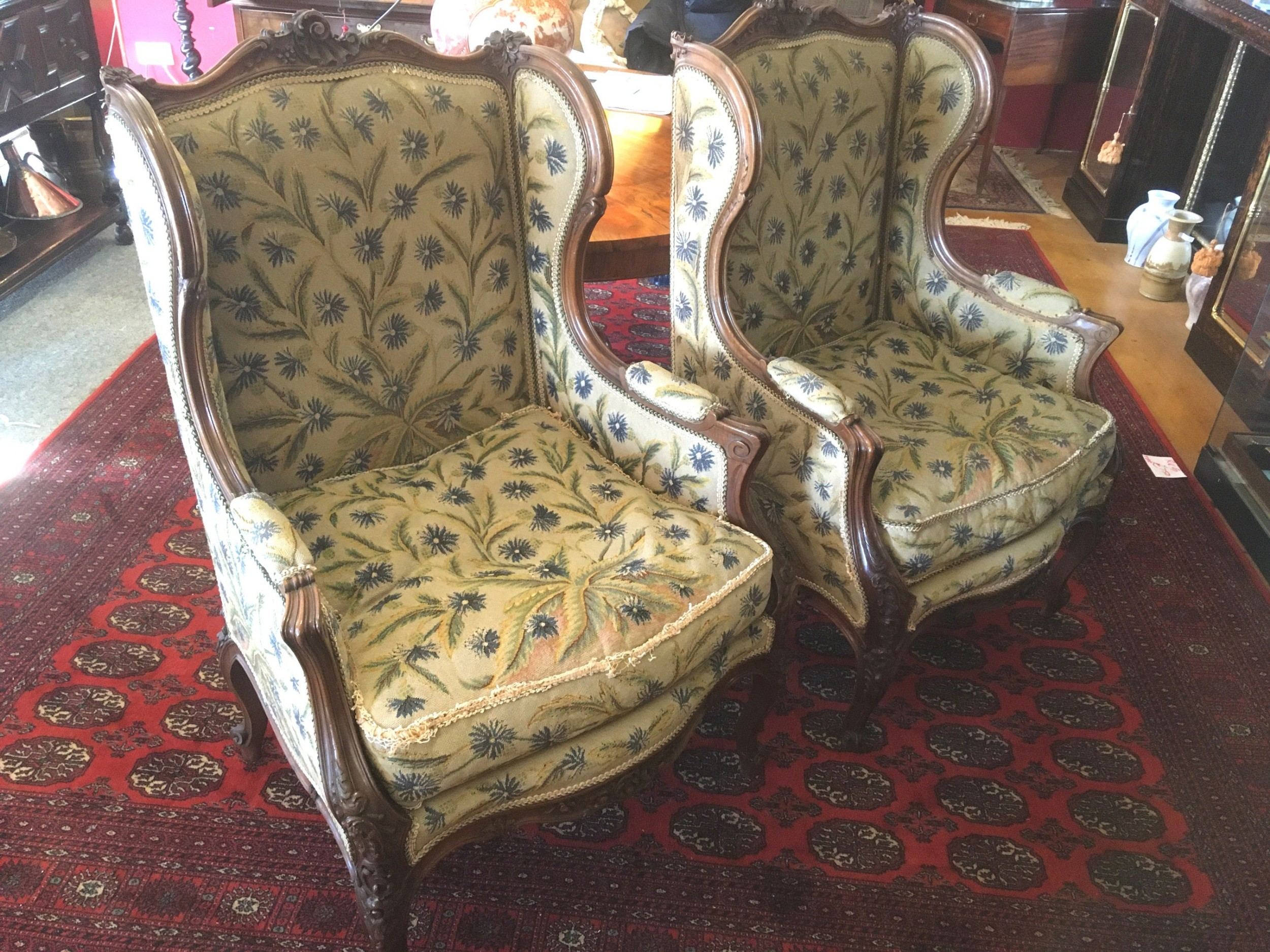 fine pair of french walnut chairs 19thc