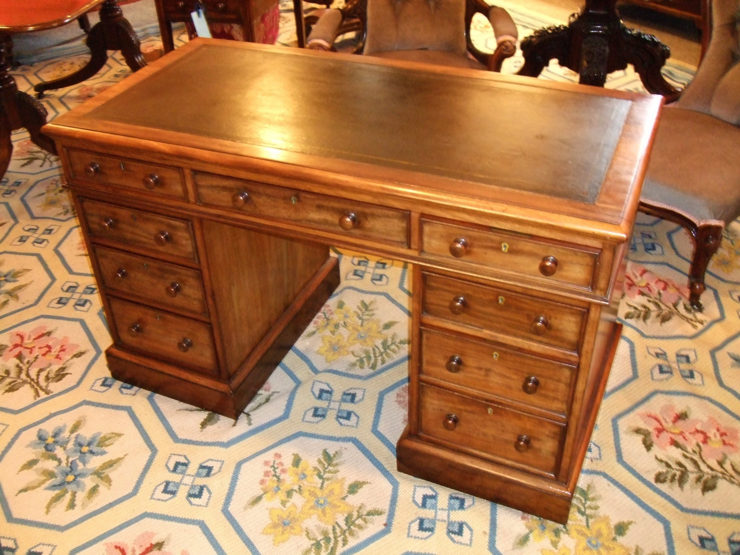 victorian mahogany desk with leather writing surface and detachable writing slope