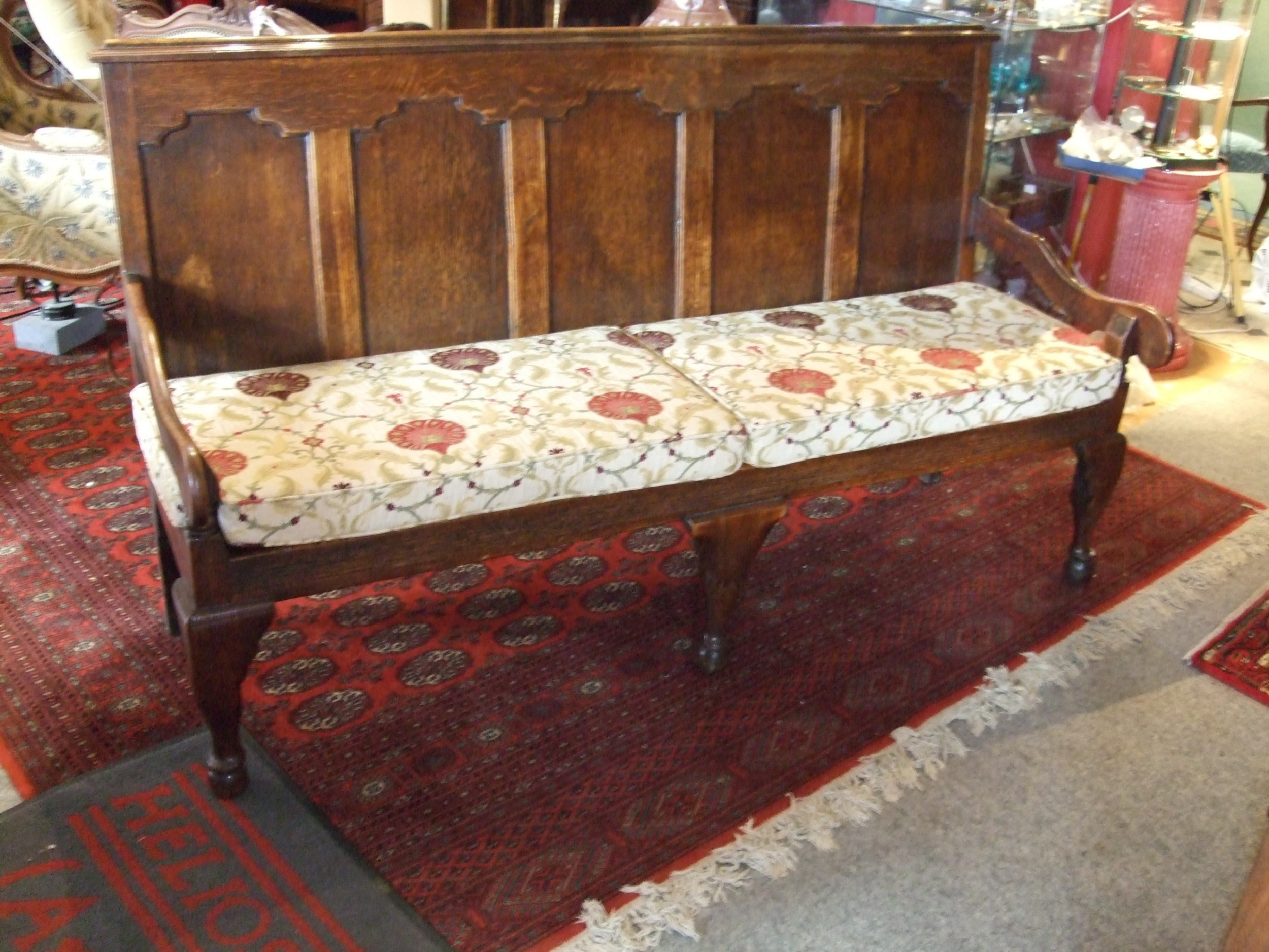18thc oak settle with 5 panelled back