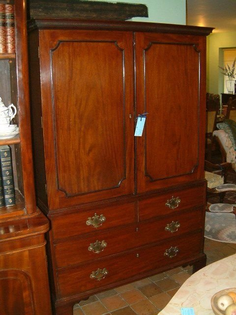 george 3rd mahogany linen press with original slides