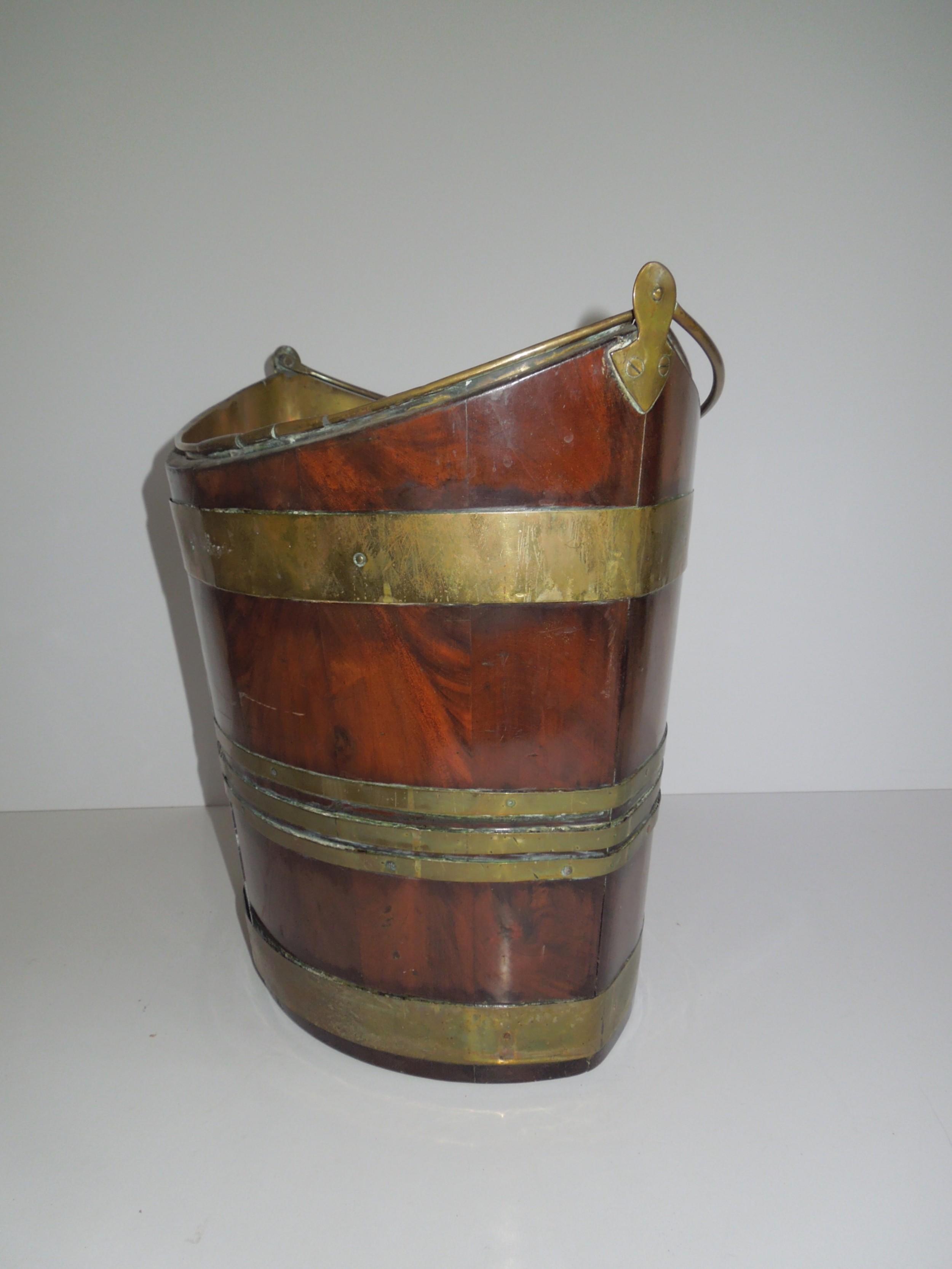 georgian navette shaped brass bound bucket