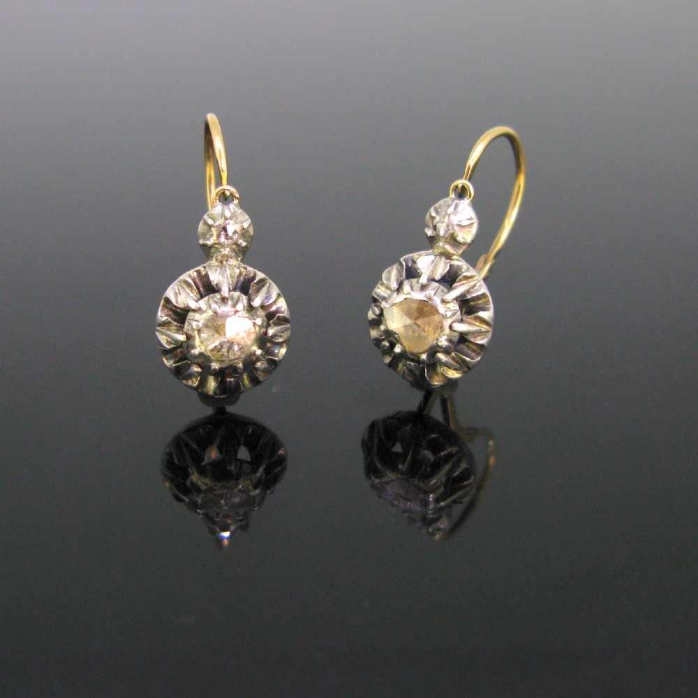 antique early victorian rose cut diamonds dormeuses earrings 18kt yellow gold and silver circa 1850