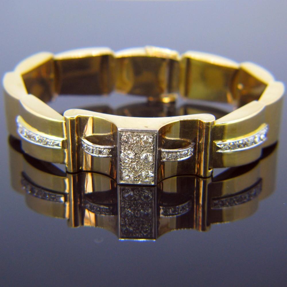 retro diamonds bracelet 18kt yellow gold and platinum circa 1940 france