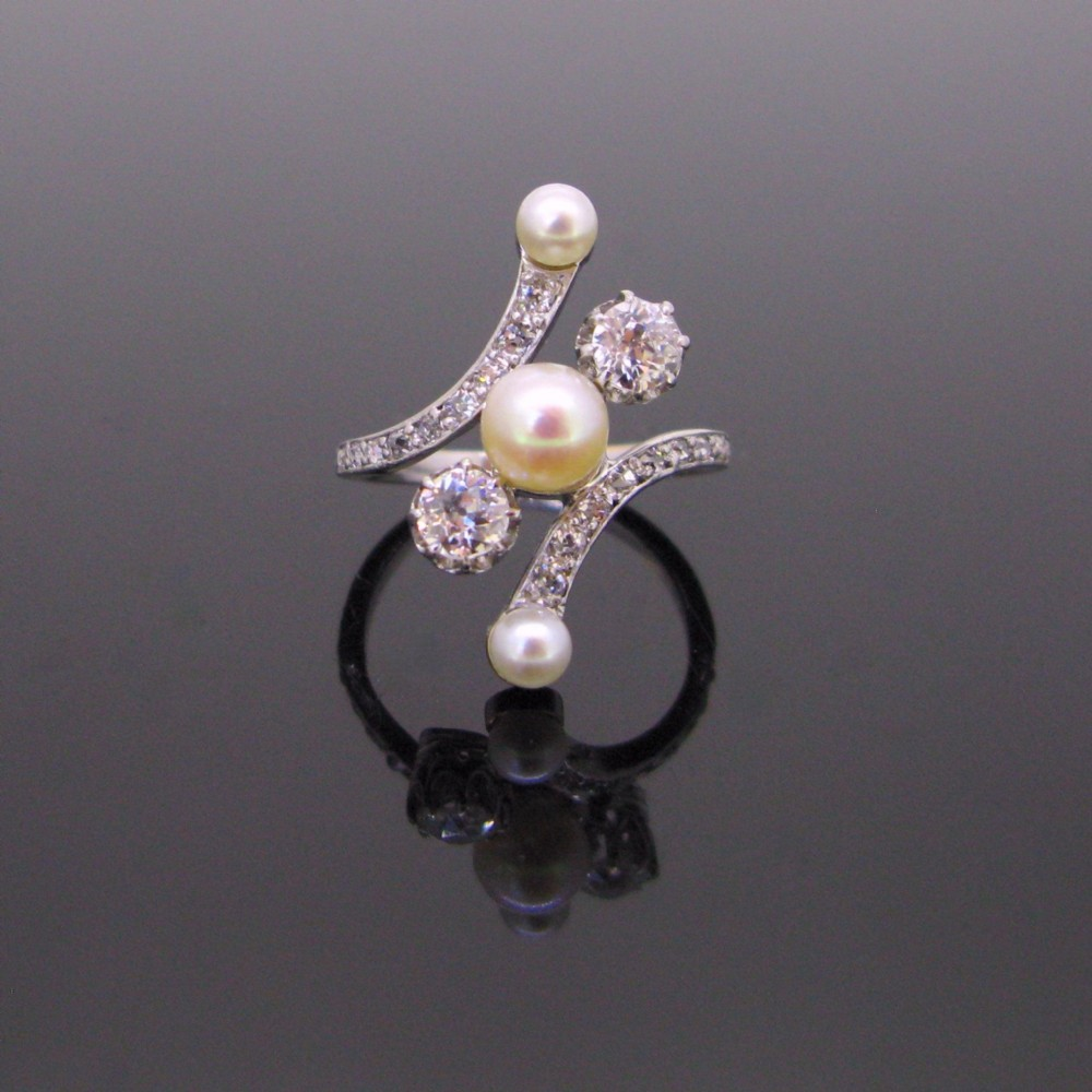 edwardian belle epoque natural pearl diamonds white gold platinum crossover ring