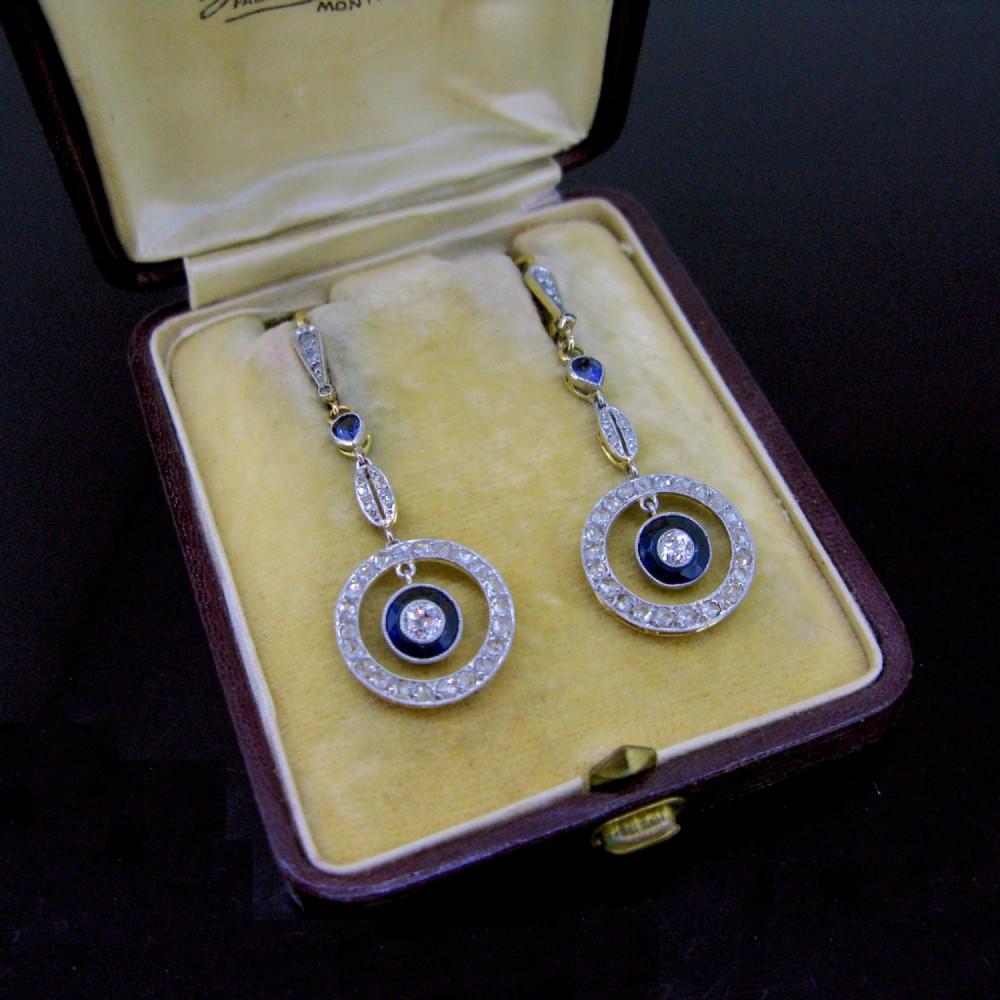 belle poque edwardian sapphires diamonds gold platinum drop dangle earrings