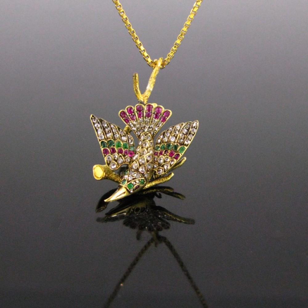 antique victorian emerald ruby and rose cut diamonds bird on a branch pendant 18kt yellow gold circa 1890 austria
