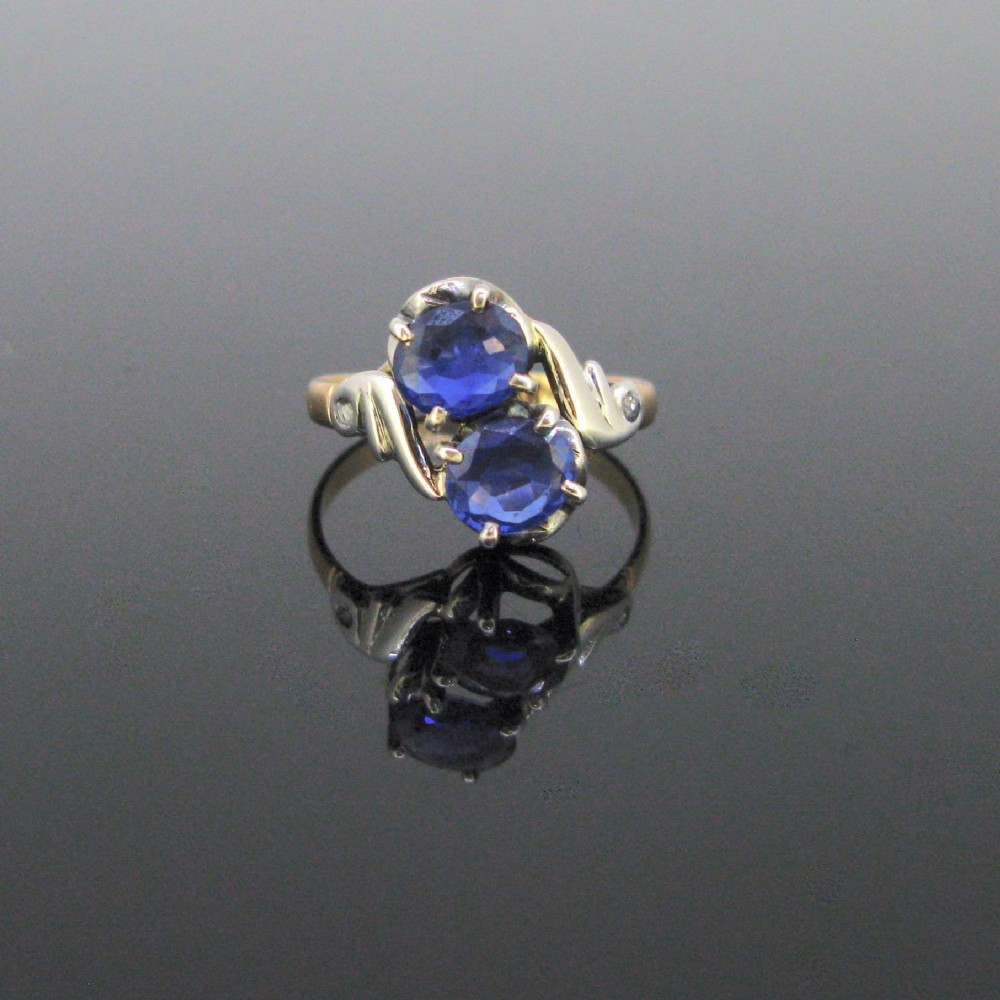 art nouveau toi et moi sapphires and rose cut diamonds ring 18kt yellow gold and silver circa 1900