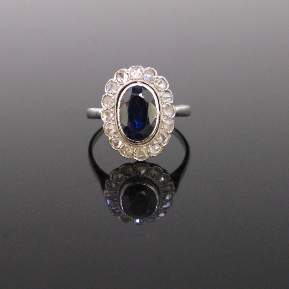 sapphire and rose cut diamonds cluster ring 18kt white gold and platinum circa 1925