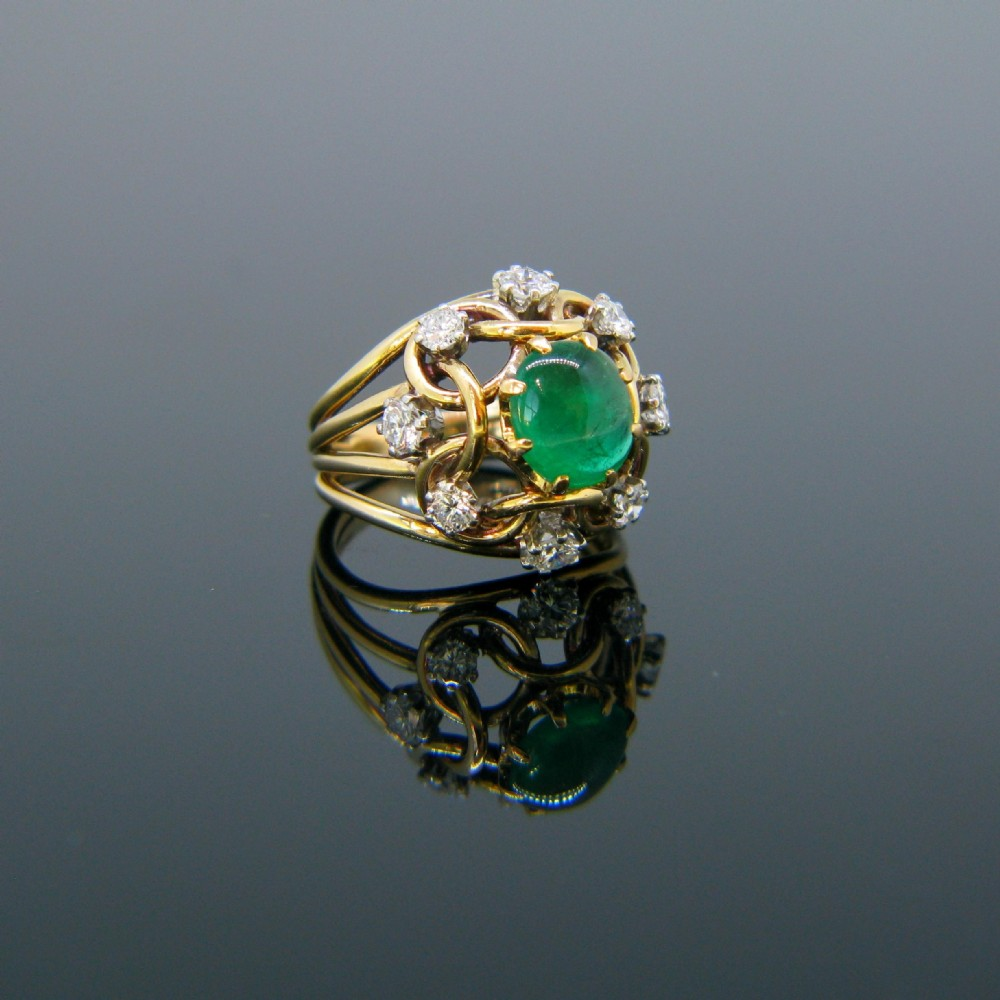 retro emerald cabochon and diamond ring 18kt yellow gold circa 1960