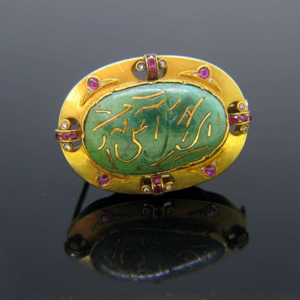 antique turquoise rubies and rose cut diamonds brooch 18kt yellow gold circa 1900