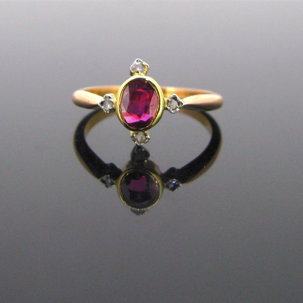 edwardian ruby and rose cut diamonds ring 18kt gold and platinum circa 1910