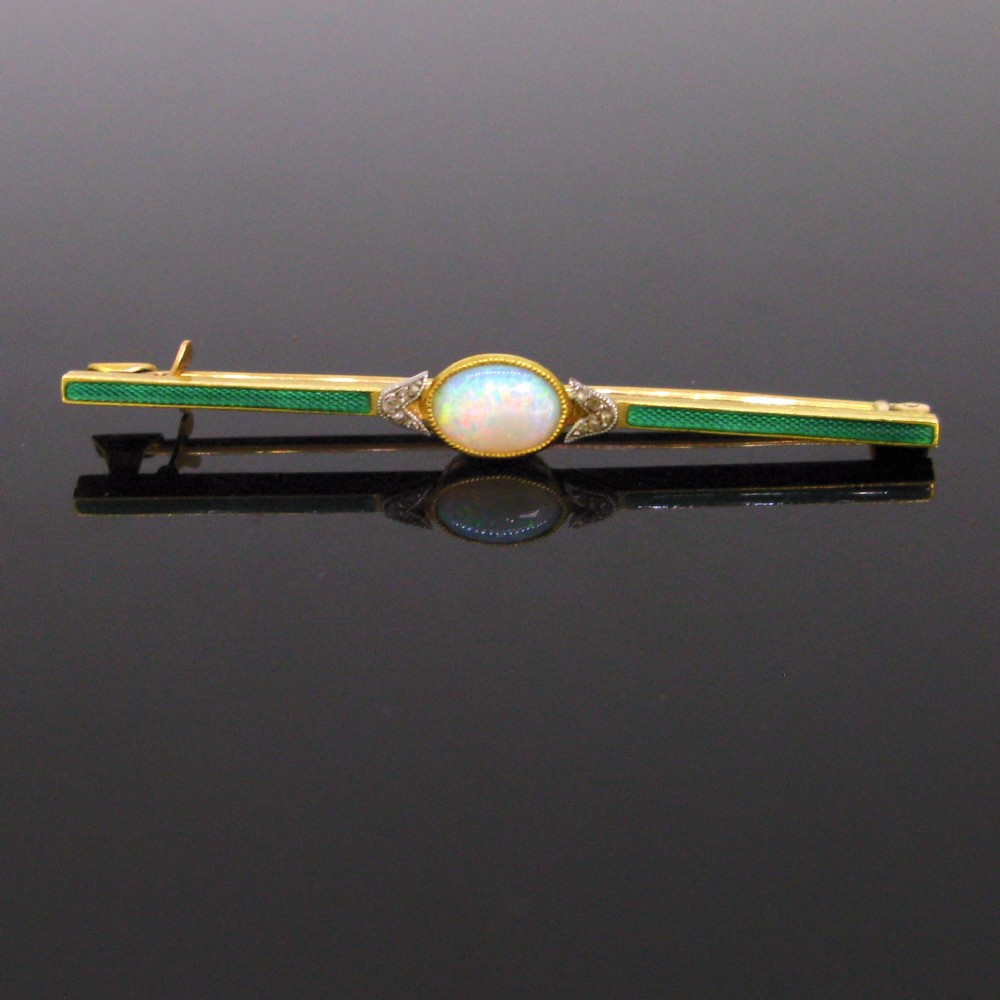antique edwardian opal rose cut diamonds enamel bar brooch 18kt yellow gold and platinum circa 1910