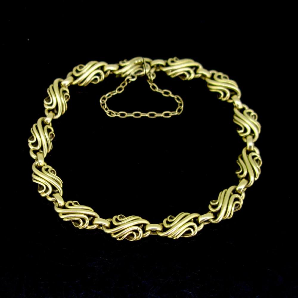 vintage retro link bracelet 18kt yellow gold france circa 1950