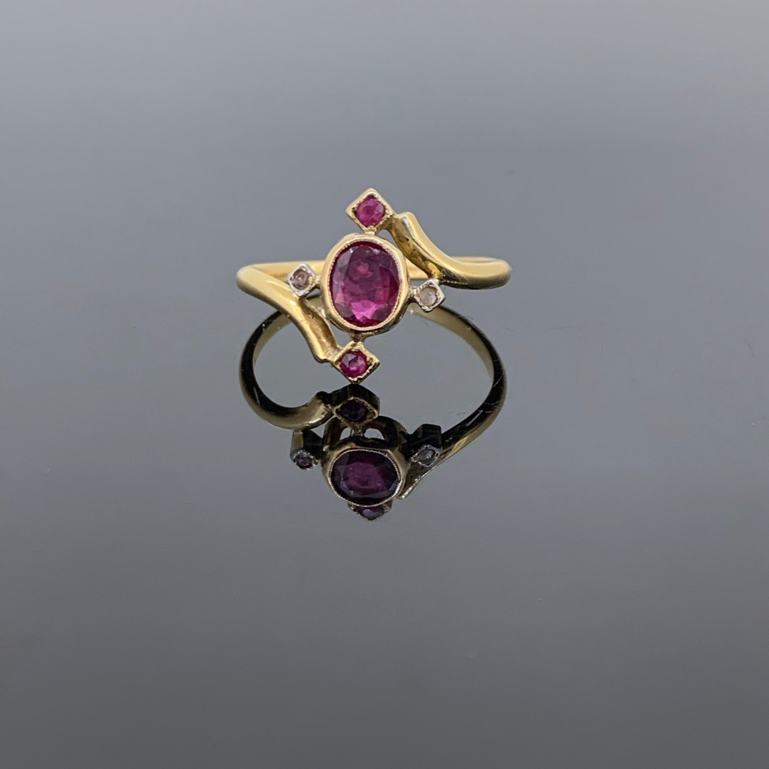 antique art nouveau ruby and rose cut diamonds ring 18kt gold and platinum france circa 1910
