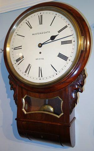 unusual 12 mahogany drop dial wall clock