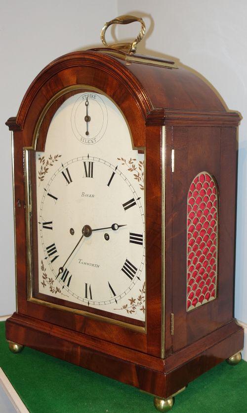 unusual georgian bracket clock with skeletonised movement baker tamworth