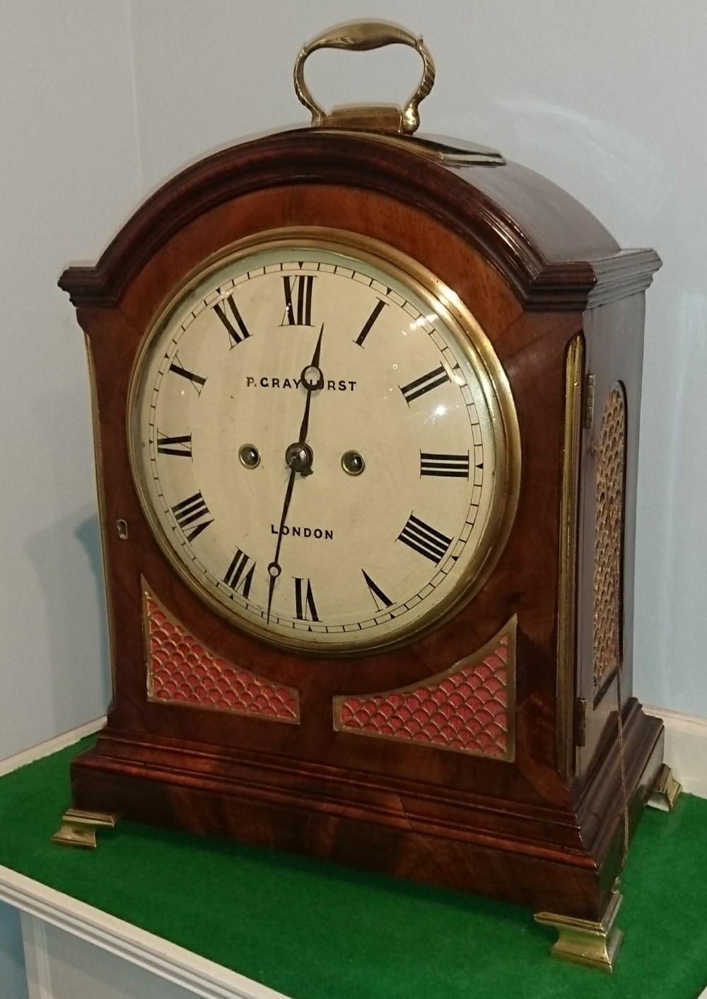 georgian pad top mahogany bracket clock grayhurst london