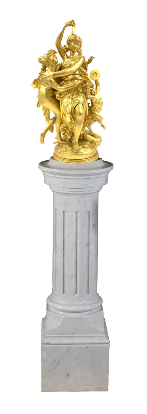a fine french gilt bronze bacchic figural group