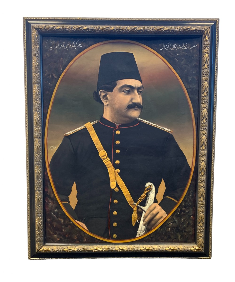a fine painting depicts prince mas'ud mirza yamin aldawla zill alsultan 18501918 signed by ibrahim qajar iran dated ah 1308ad 189091
