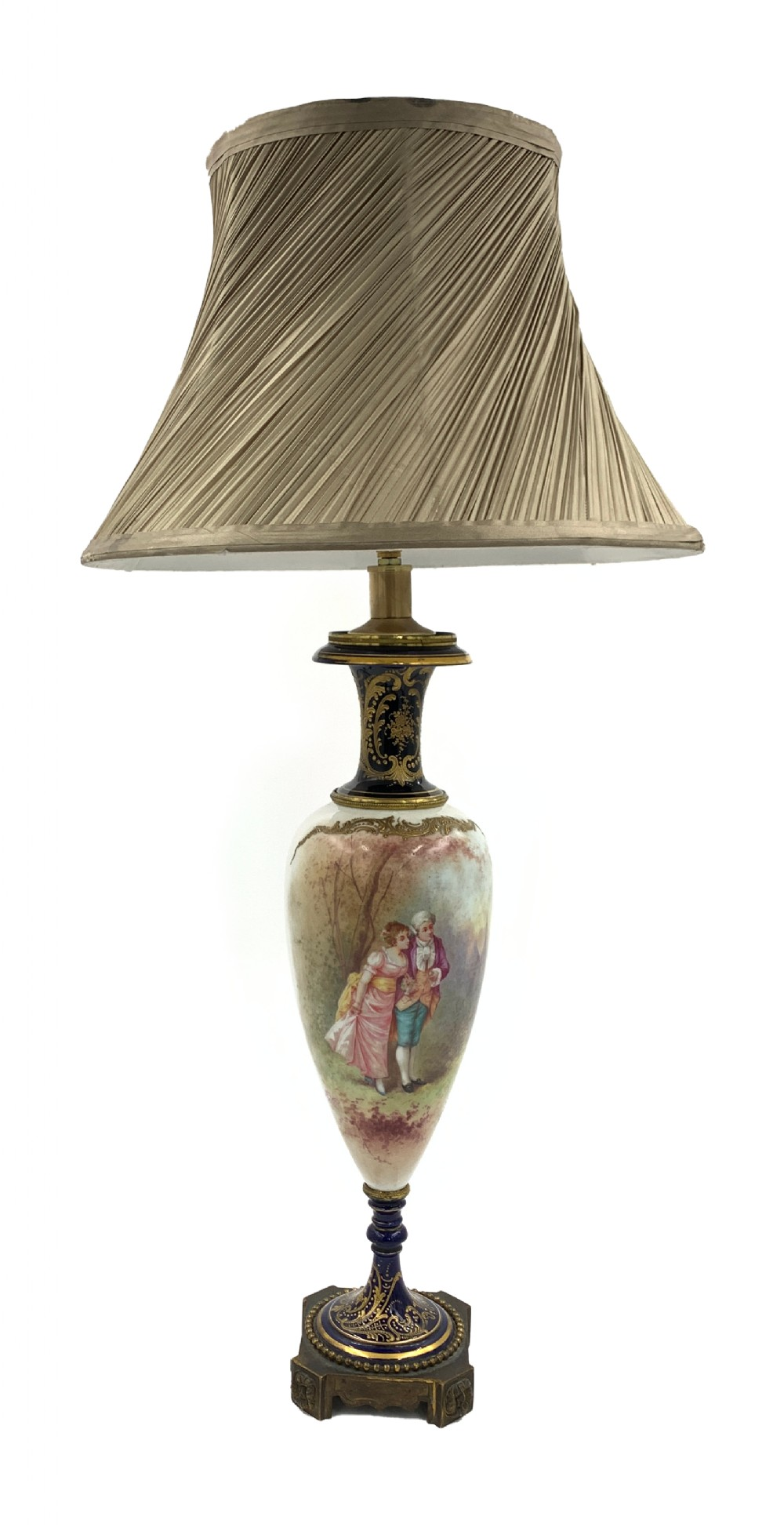antique blue sevres style porcelain table lamp france 19th century