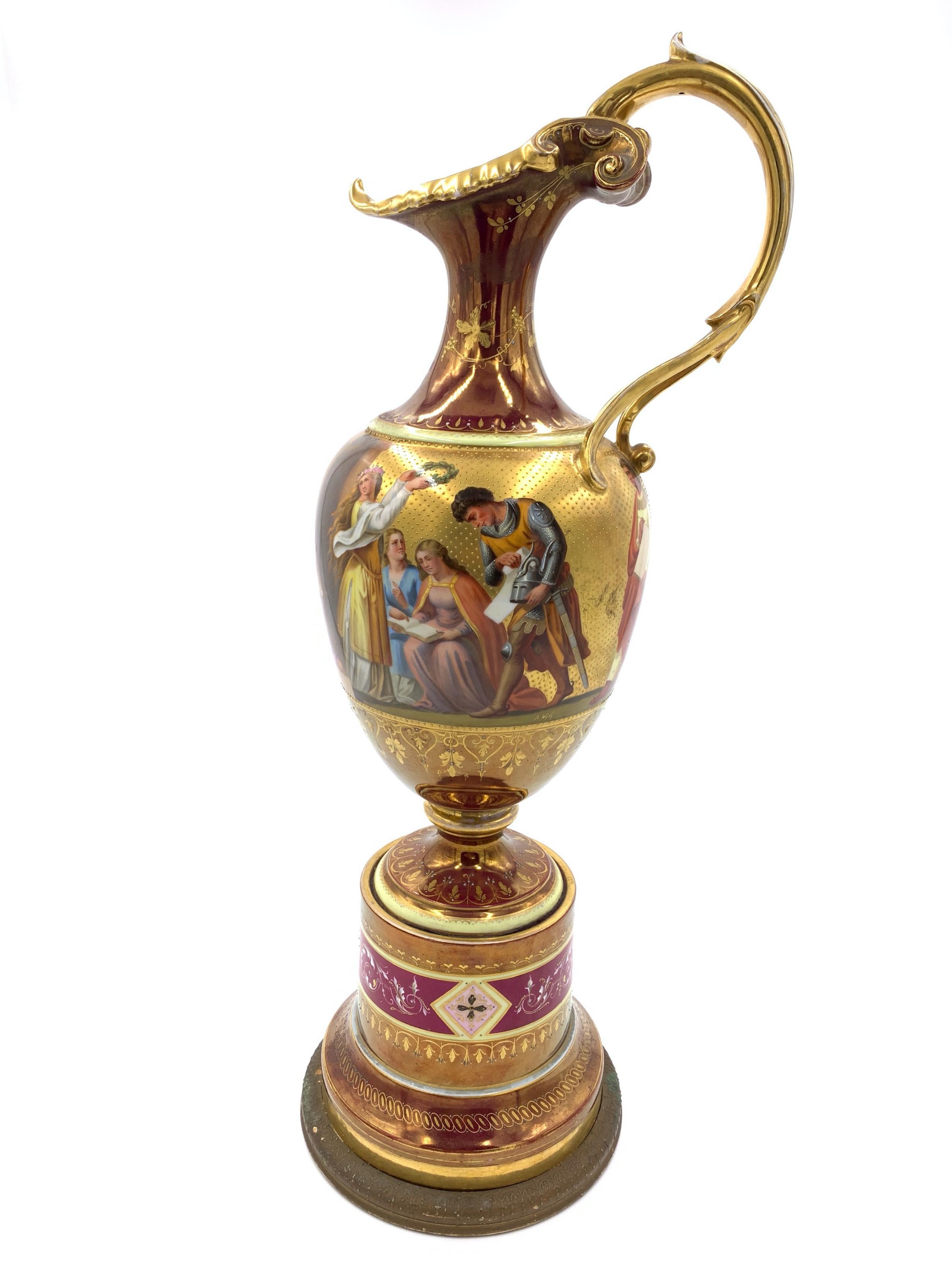 large royal vienna porcelain ewer on stand