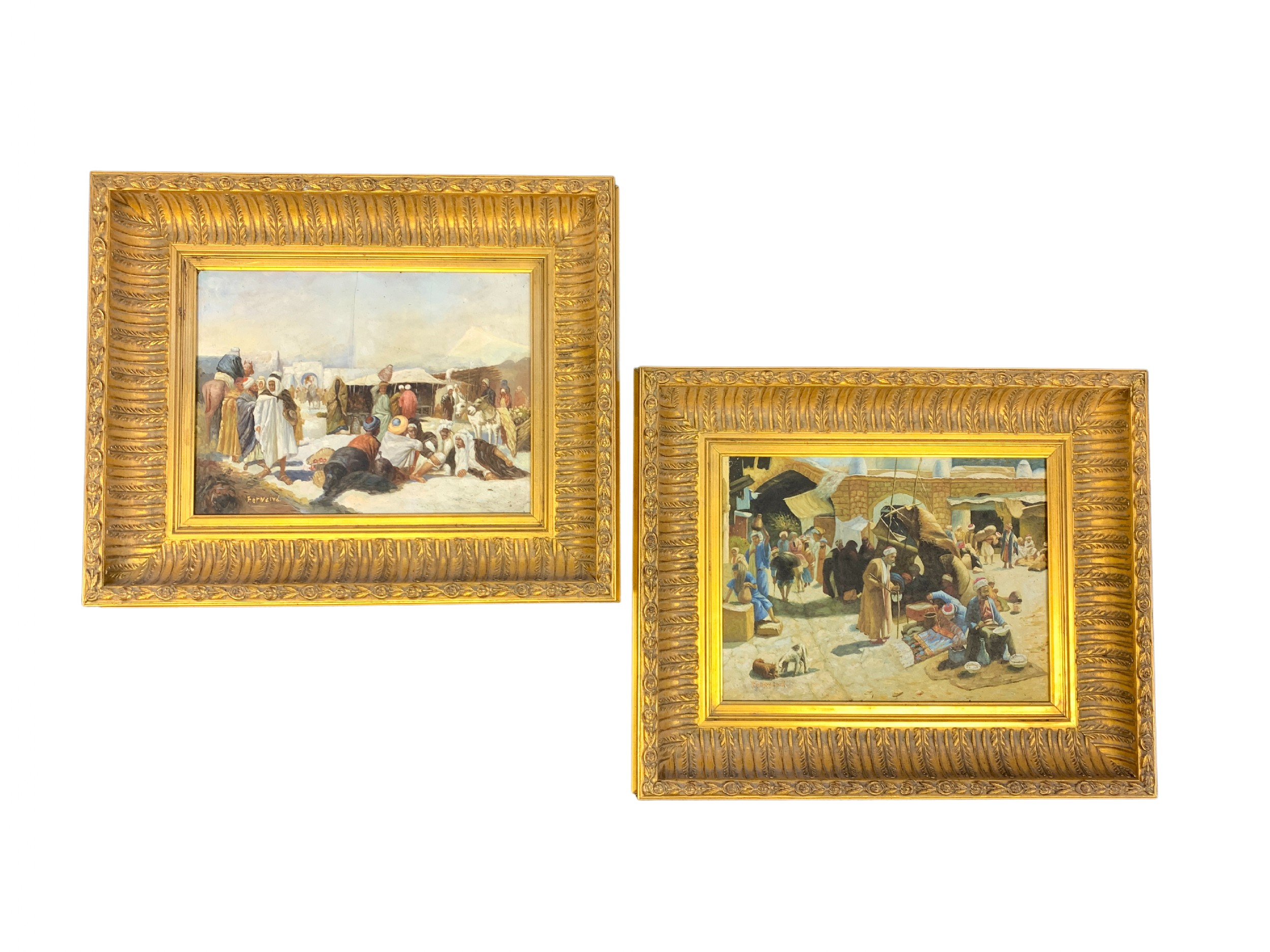 pair of decorative paintings oil on board oriental market scene