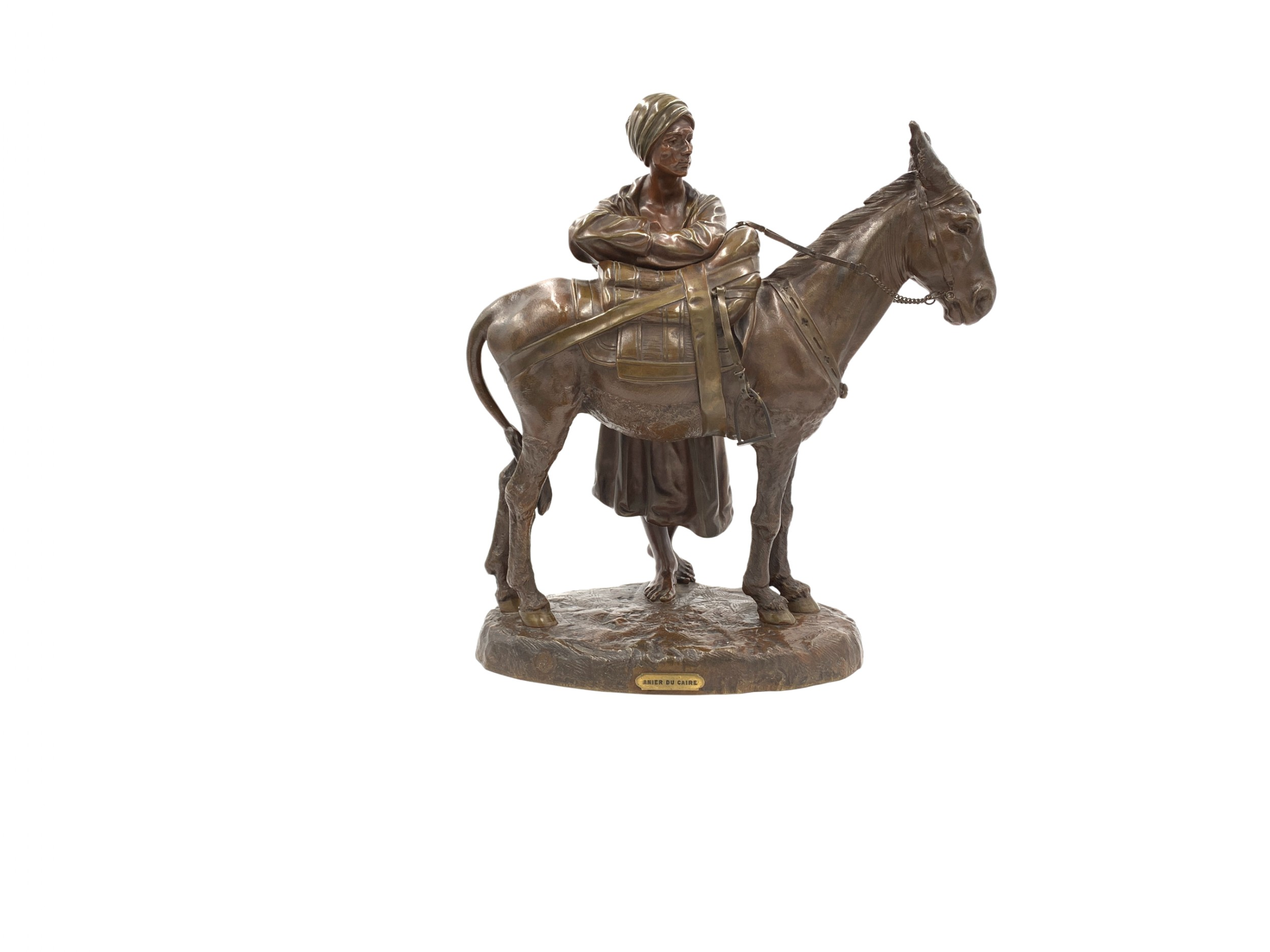 a french patinated bronze group of a figure and donkey entitled 'anier du caire'