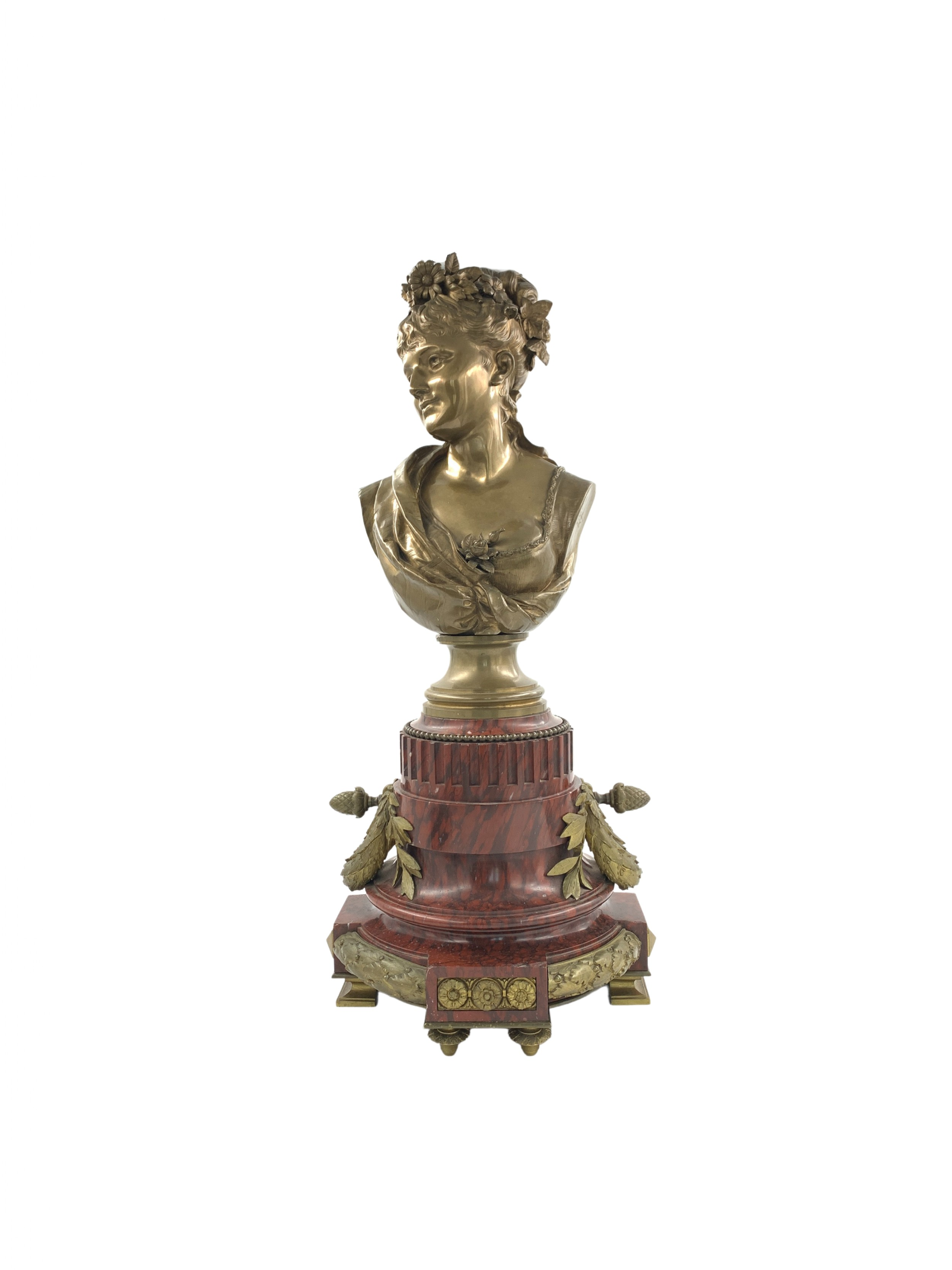 a bronze buste of a lady by leopold harz