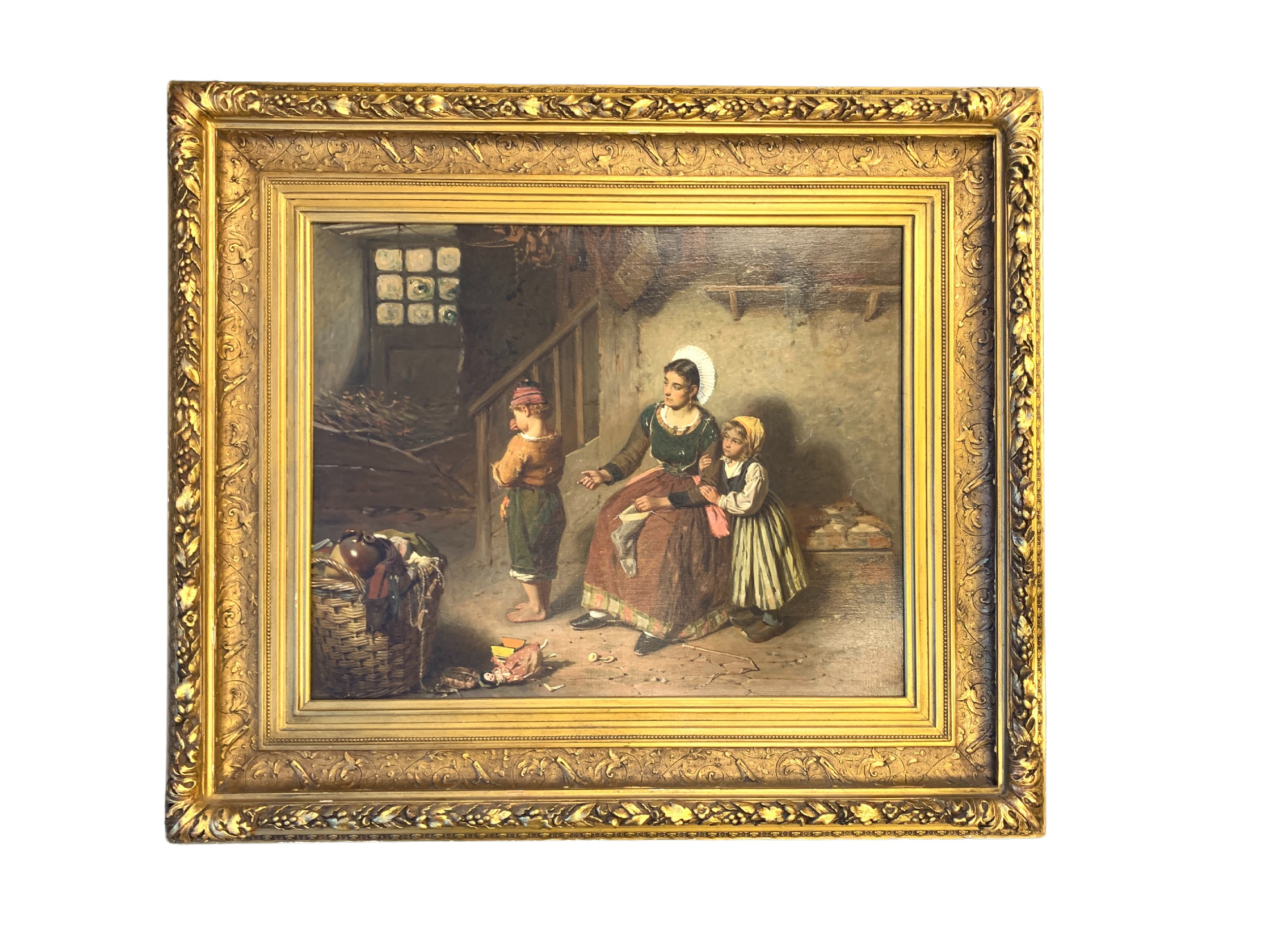 large northern european portrait of a peasant women and her children