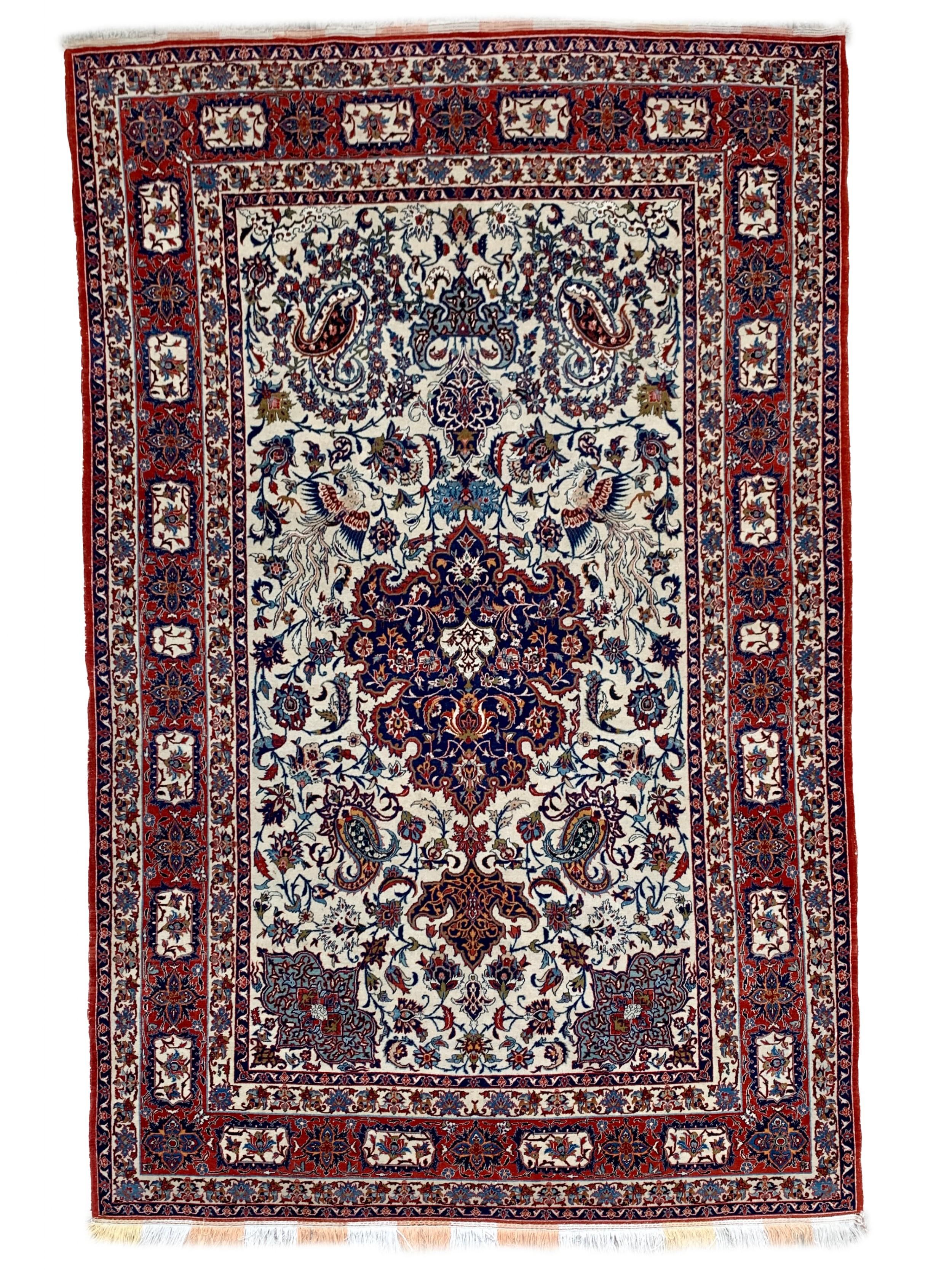 a partsilk isfahan rug central persia circa 1940