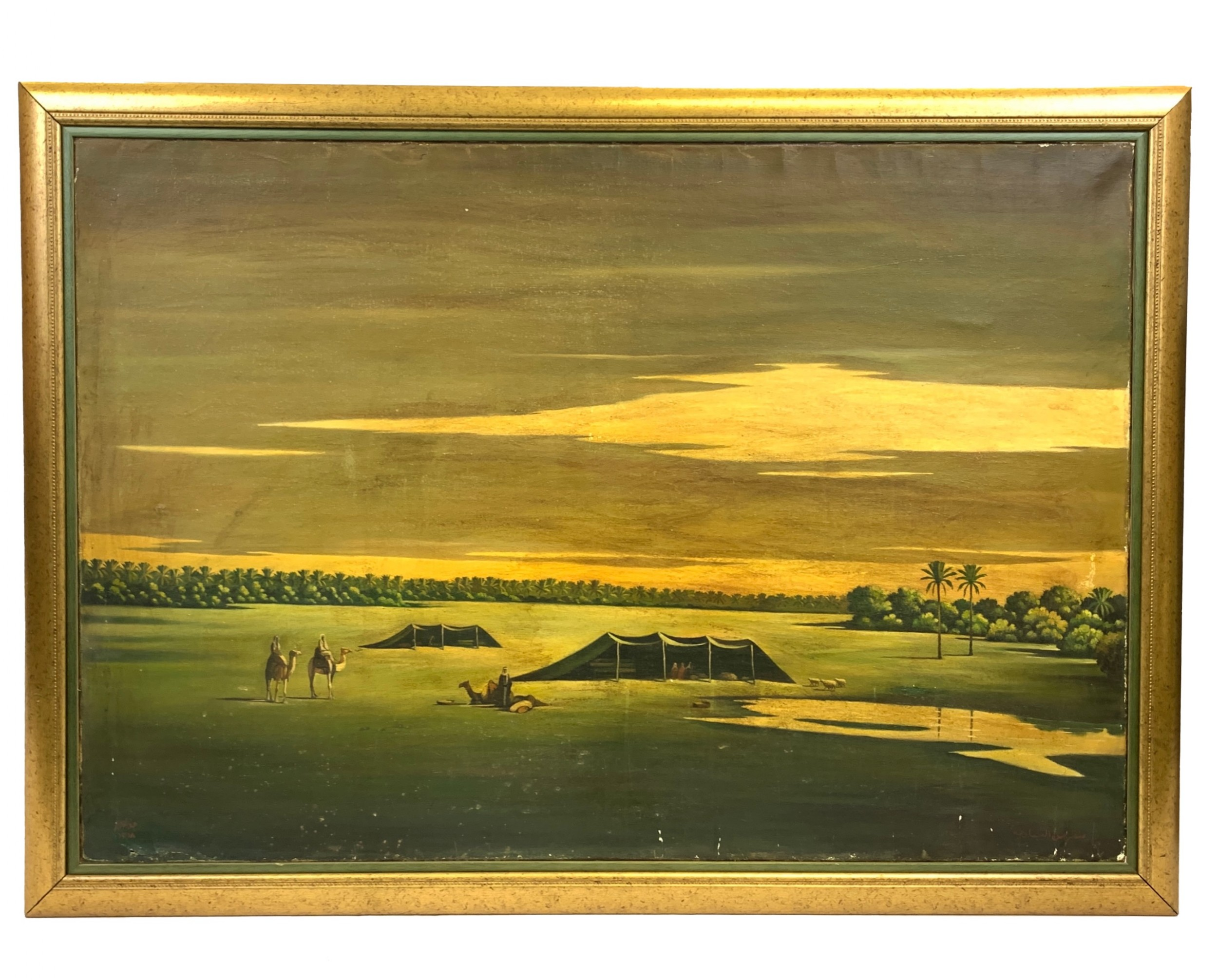 view of bedieh the wilderness oil on canvas painting by abdul kadir al rassam iraq 18821952