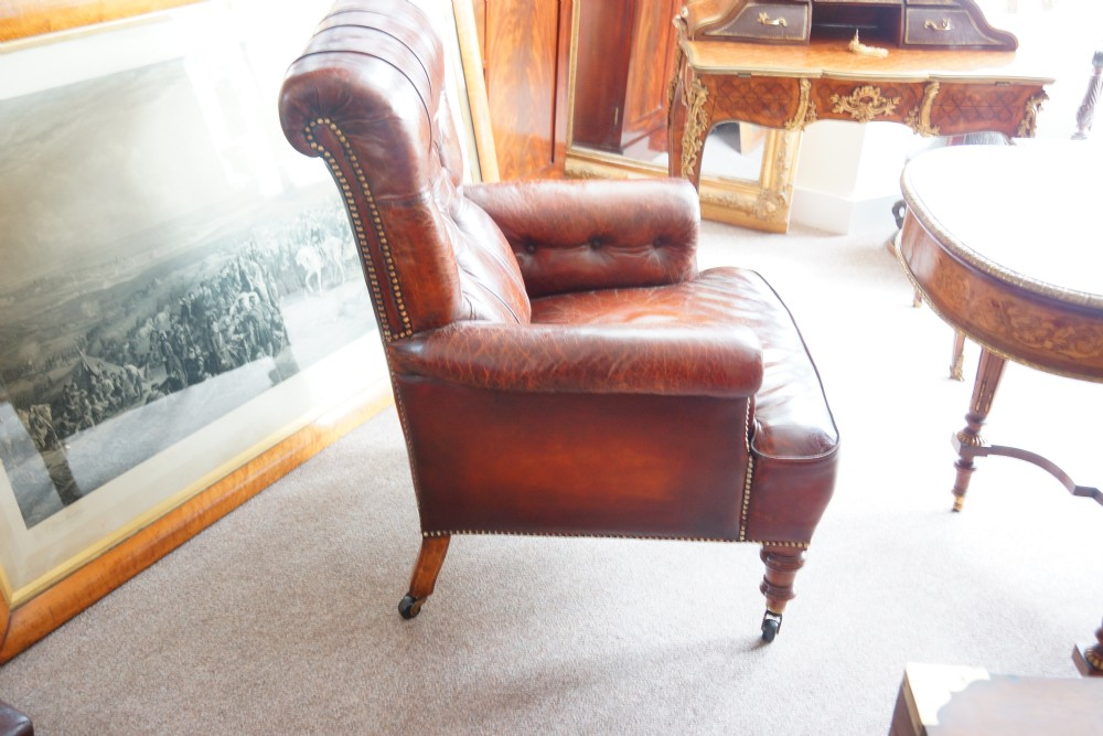 victorian leather library reading chair 336096