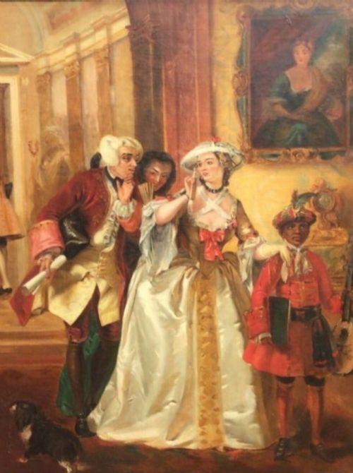 french romantic figurative genre oil portrait painting