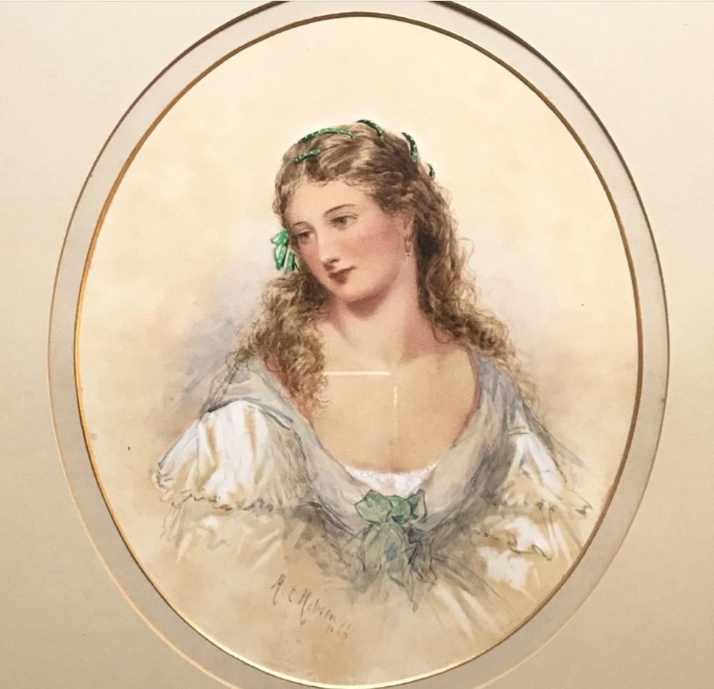 watercolour portrait painting of a lady by henry e hobson fl 18571866