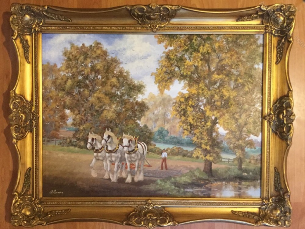 landscape oil painting young shire horsesharrowing field agricultural farming scene