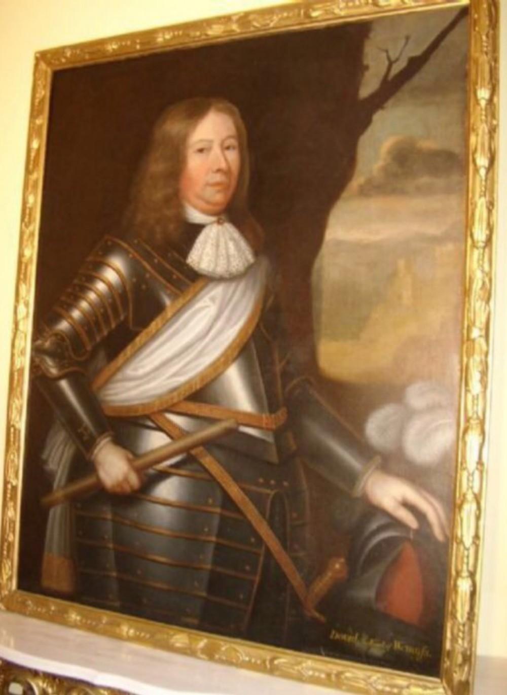 17thc oil portrait david 2nd earl wemyss wearing armour scottish painting circle of david scougall