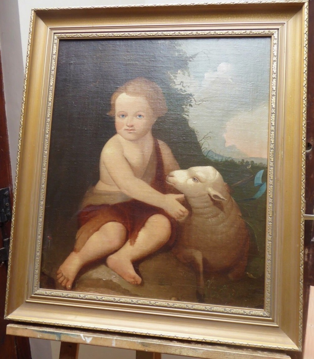 infant st john the baptist in the wilderness with lamb 18thc oil portrait painting after bartolome esteban murillo
