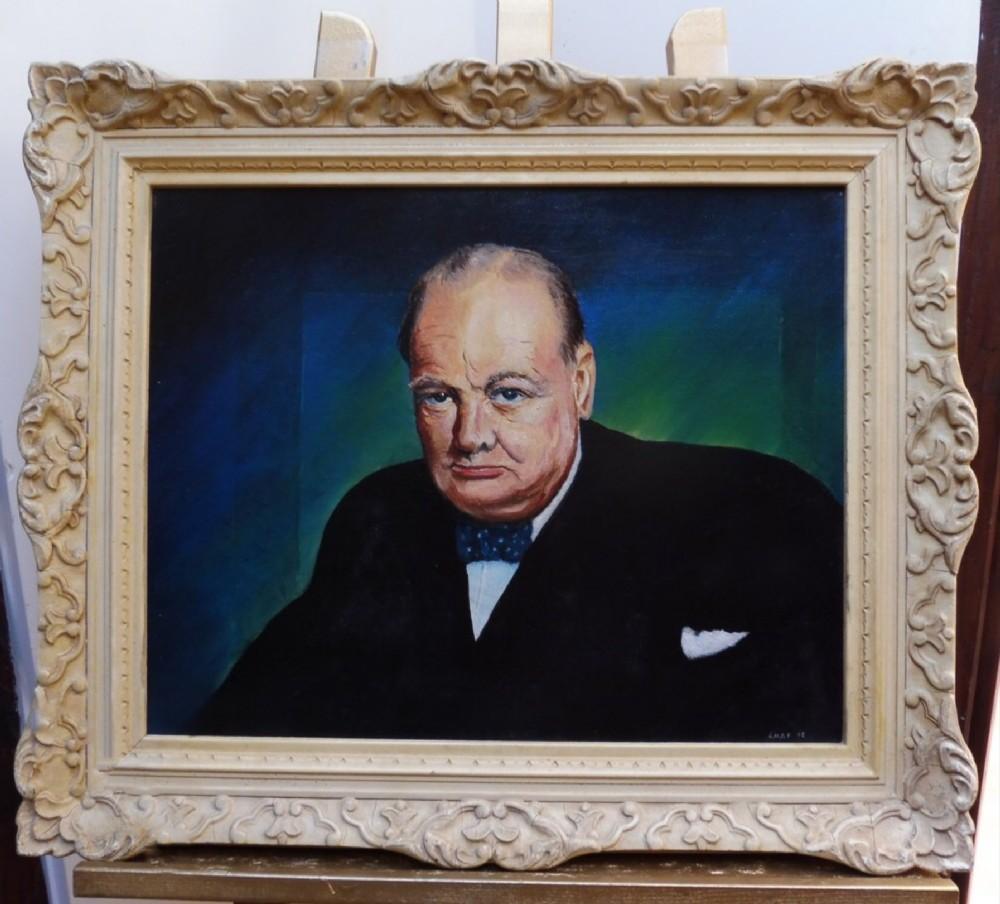 winston churchill oil portrait painting c1965british wartime prime minister