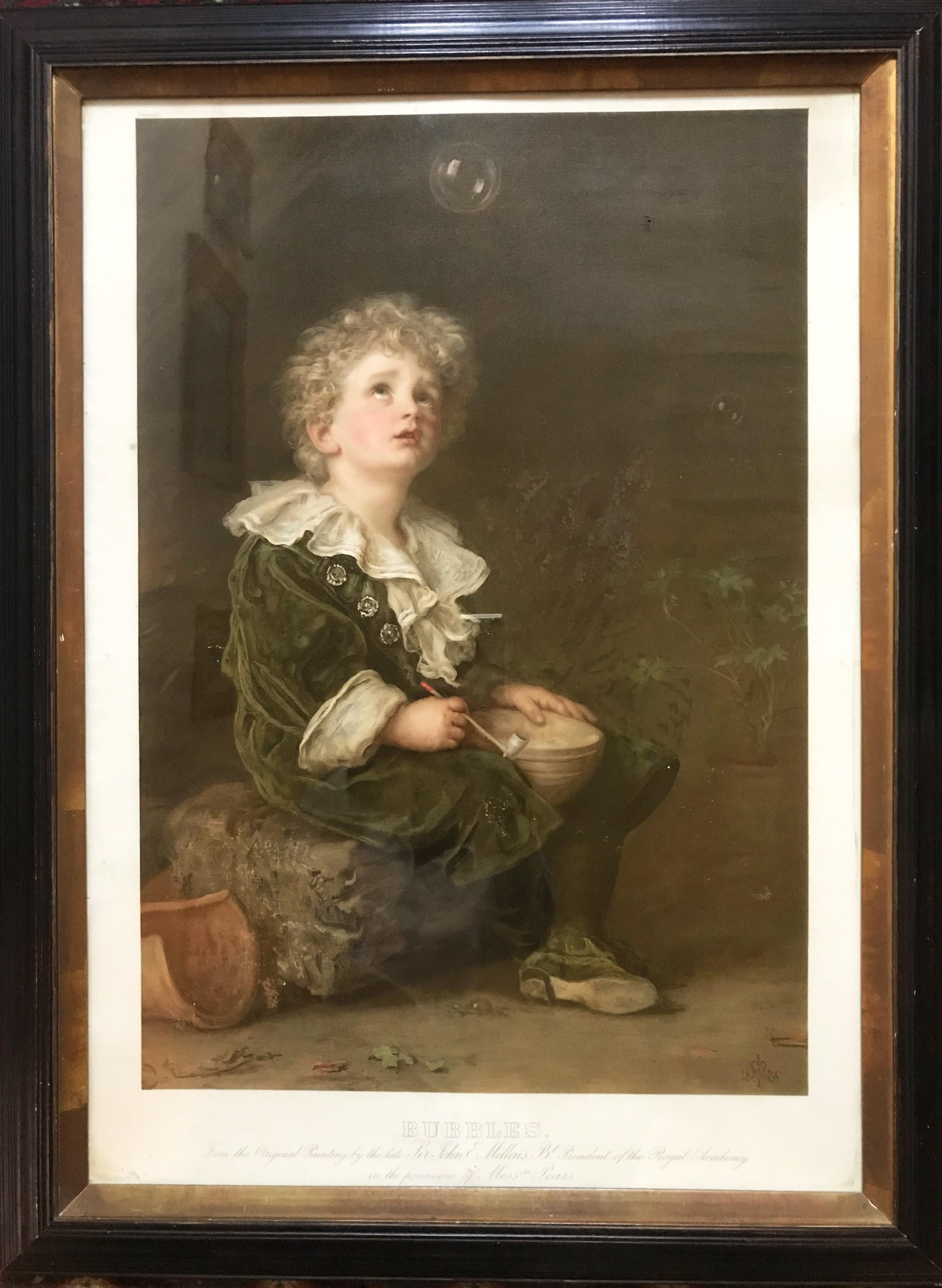 bubbles original pears print after john everett millais antique frame portrait under glass