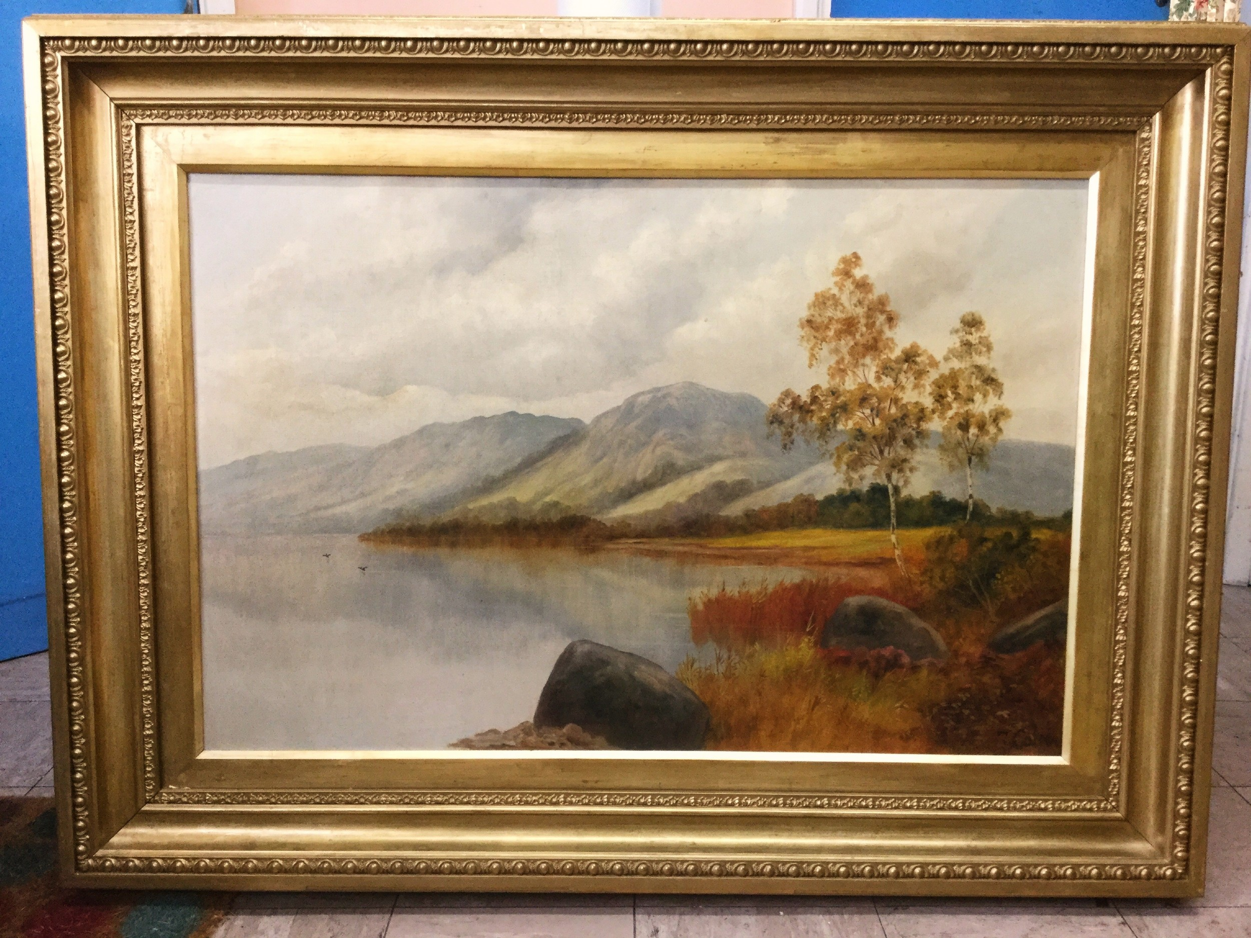19thclandscape oil painting scottish loch manner of fejamieson 35 x 47 inches