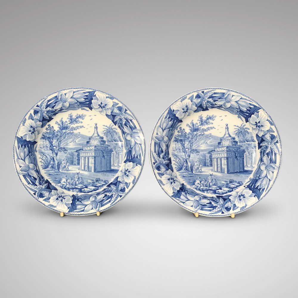 a superb pair of early 19th century wedgwood blue white plates