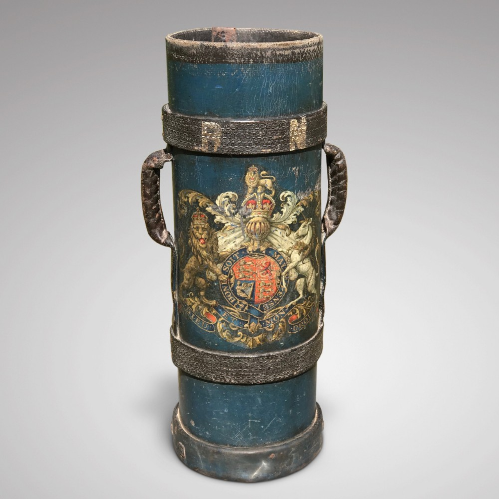 19th century blue leather stick stand with royal coat of arms